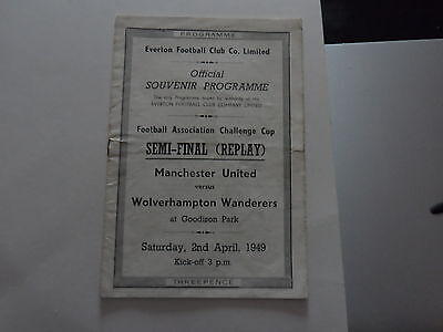 1949 FA CUP SEMI-FINALREPLAY@ EVERTON  MANCHESTER UNITED v WOLVERHAMPTON WOLVES
