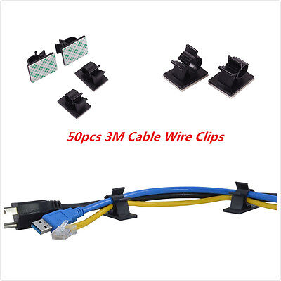 50x Car Auto Data Wires Cable Clamp Tie 3M Fixed Clips Self-Adhesive For Benz
