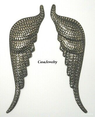 #3447 X-LARGE ANTIQUED GOLD LEFT/RIGHT FEATHERED ANGEL WINGS - 2 Pc Lot (1 Pair)
