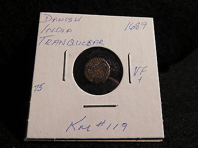 India  Danish Tranquebar : 1689  Kas Cv Coin (Vf.)  (#11)  Km#119