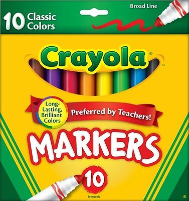 Crayola 10 Ct Classic Broad Line Markers, New