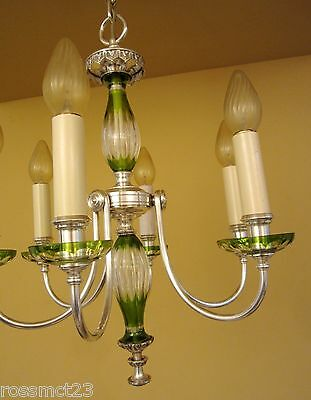 Vintage Lighting 1920s silver and green glass chandelier. Exquisite