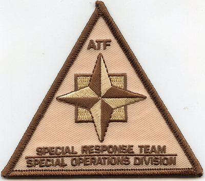 ATF SPECIAL RESPONSE TEAM - SPECIAL OPERATIONS DIVISION brown SWAT POLICE PATCH