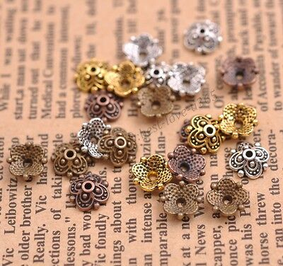 100/1000Pcs Tibetan Silver Spacer beads Flowers Beads Caps Findings 8MM B3113