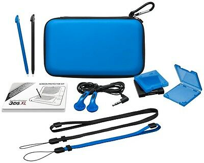 Blue Nintendo 3DS XL Accessory Pack / Kit  Case, Stylus, Earphones