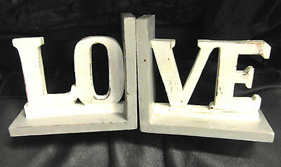 Wooden Shabby Chic Vintage Look  'love' Book Ends Hand Made Fairtrade