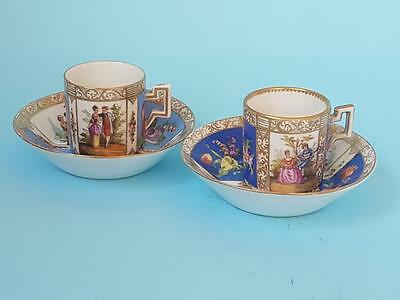 2 Antique 19th Cent. Vienna Porcelain Hand Painted Cabinet Coffee Cups & Saucers