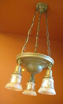 Vintage Lighting set 1915 pan chandelier and pair sconces   Glass Shades