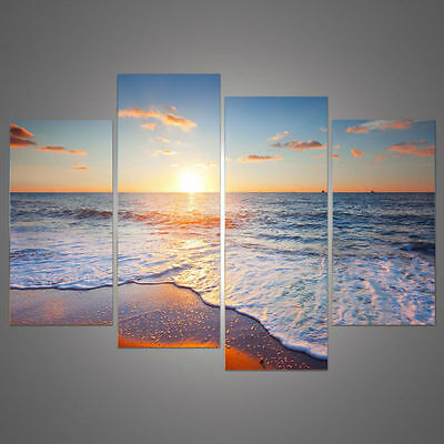 framed canvas pictures print Sunset Beach sea waves view Home Wall decor