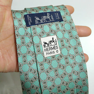 Authentic Hermes Paris 100% Silk - Cyan Knotting Print Neck Tie
