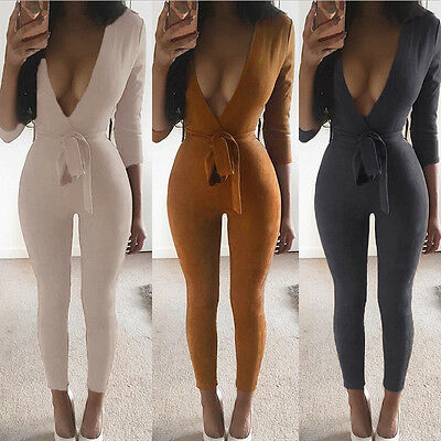 Sexy Femmes Profond Col V Slim Bodycon Jumpsuit Combinaison Pantalon OVERALL