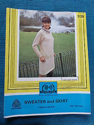 "Vintage 60s Knitting Pattern: Fair Isle Cowl Neck Sweater + Skirt, 34-40"" Bust"