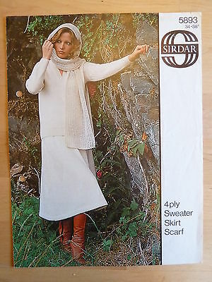 Knitting Pattern for Classic Knitted Jumper, Skirt and Scarf in 4 ply