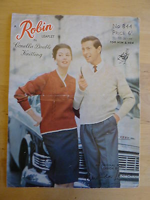 Vintage 1950 Knitting Pattern, Sweater for Him or Her, Cable Panels.