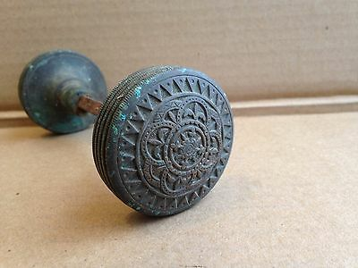 Antique Estate Fresh Solid Brass Victorian Eastlake Round Door Knob Set Vintage