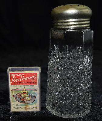 FUNKY Classic RETRO Cafe Style Vintage LARGE Cut Glass Salt Shaker metal top