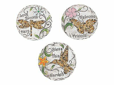 Set of 3 Decorative Garden Stepping Stones - 25cm Pebbled Sentiment Stone