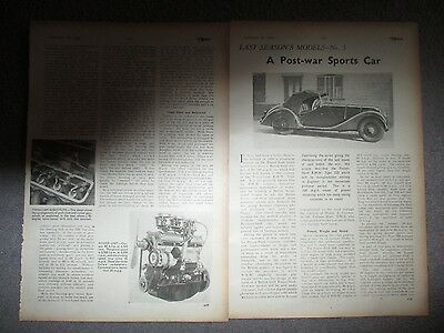 Bmw Type 328 Sports Car***1944 Three Page Article**(See Photo)