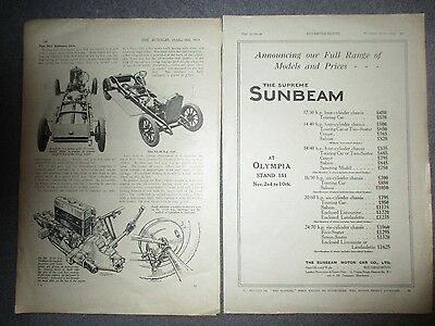 Sunbeam Cars***1923 Two Page Article+Original Vintage Advert**(See Photo)