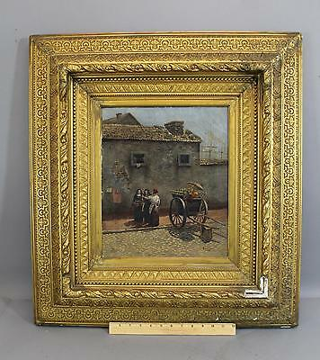 19thC Antique 1879 O/C French Oil Painting Vegetable Vendor & Nuns, No Reserve