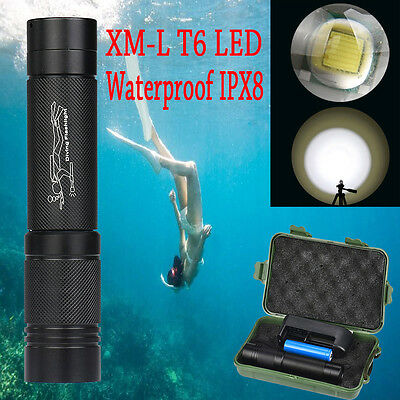 Waterproof 3000Lm XMLT6 LED Diving Scuba Flashlight Torch 18650 Lamp+Charger UK