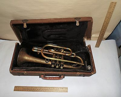 AMBASSADOR OLDS BRASS TRUMPET or CORNET - Vintage with Case - 1940s - As Is