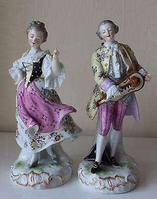 Antique 19th C German or French Porcelain Figurines Music & Dance Hand Painted