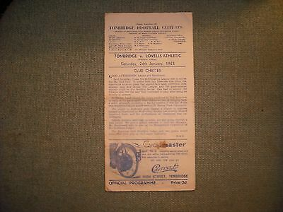 Tonbridge  V  Lovells Athletic  (Sl)  24-1-53  Single Sheet
