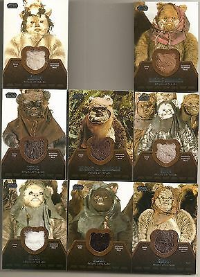 STAR WARS JEDI LEGACY complete set of 8 EWOK RELIC trading cards (Topps 2013)