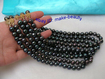 wholesale 5piece 10mm round black freshwater cultured pearlsnecklace