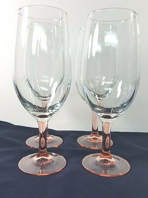 "Set of 4 Rose Pink Stemmed Glass Large Wine Iced Tea Glasses Cristal D""Arques"