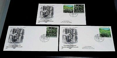 U.N.1988, N.Y. #522-523, SURVIVAL/FORESTS SINGLES ON ART CRAFT FDCs, NICE! LQQK!
