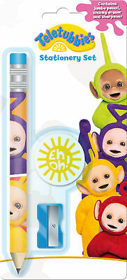 Teletubbies Time Jumbo Pencil, Eraser and Sharpener Childrens Stationery Set