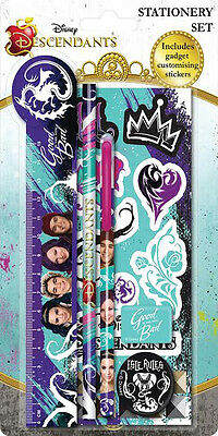 Descendants 5 Piece Childrens Stationery Set with Bendy Rubber Back to School