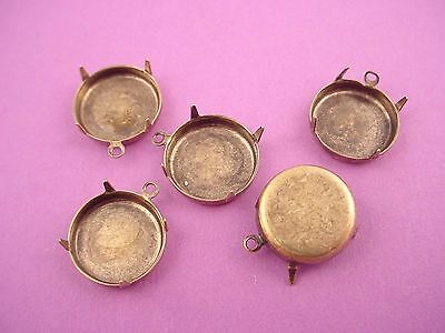 6 brass ox  round prong settings with shallow walls 18mm for flatback cabochons