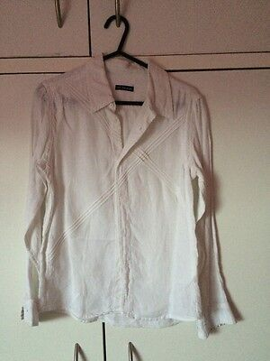 M&S Autograph White Linen Blouse Shirt Age 11