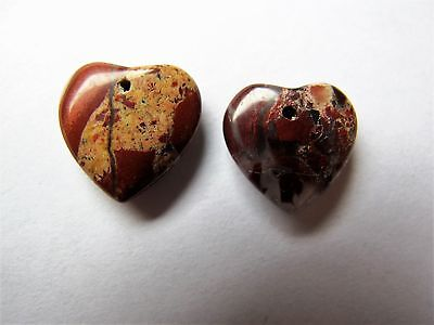 2 x 15mm Brecciated jasper heart pendant beads red brown