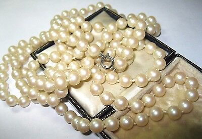 Pretty VINTAGE ART DECO 1930's Pearl GLASS BEAD LONG Knotted Jewellery NECKLACE