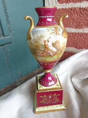 Antique Beehive Royal Vienna Hand Painted Artist Signed Bachus Porcelain Urn