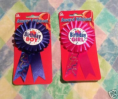 Birthday Boy Birthday Girl Badge with Rosette - Pin On Award Ribbon - Carded