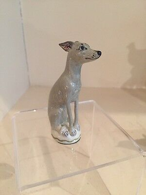 A Charming Porcelain Miranda Smith Blue Whippet / Greyhound /Lurcher Signed