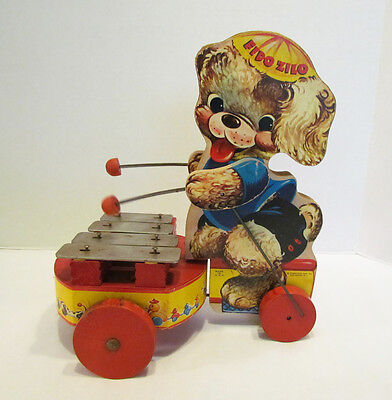 FISHER PRICE # 707 FIDO ZILO WOOD WOODEN PULL TOY 1950's DOG PLAYING XYLOPHONE