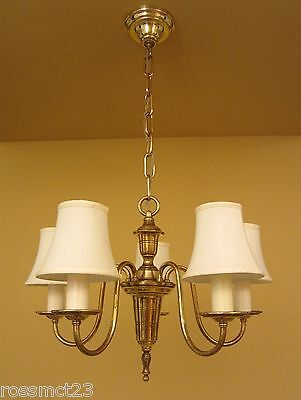Vintage Lighting pair antique 1930s brass Colonial Revival chandeliers