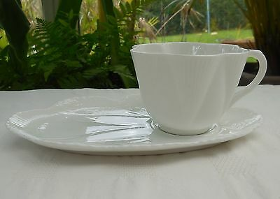 Vintage White Shelley China 'Dainty' Tennis Set Tea Cup & Plate