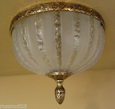 Vintage Lighting circa 1950 Hollywood Regency cracked ice foyer More Available