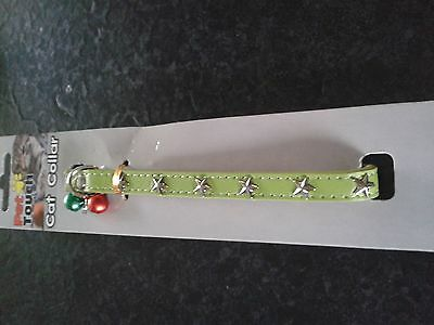 Lime Green Studded Cat Collar With 2 Coloured Bird Warning Bells.nwt New