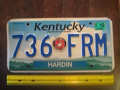 License Plate, Kentucky, Cloud in the shape of KY, Marine stkr added, 736 FRM