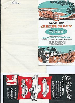 Jersey Map 1954, Highway Code & Car Hire Leaflet