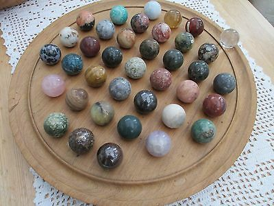 Large French Solitaire Wooden Oak Board Game with 38 Semi-Precious Stone Balls