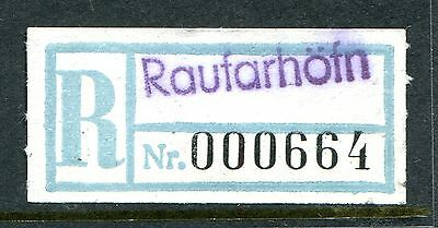 Raufarhofn, Iceland. Very Scarce Early Pale Blue Provisional Registration Label.